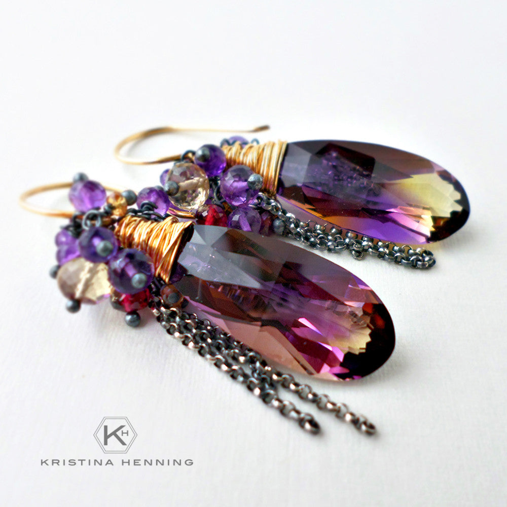 Purple and gold gemstone earrings with ametrine, amethyst, citrine, garnet and sapphire