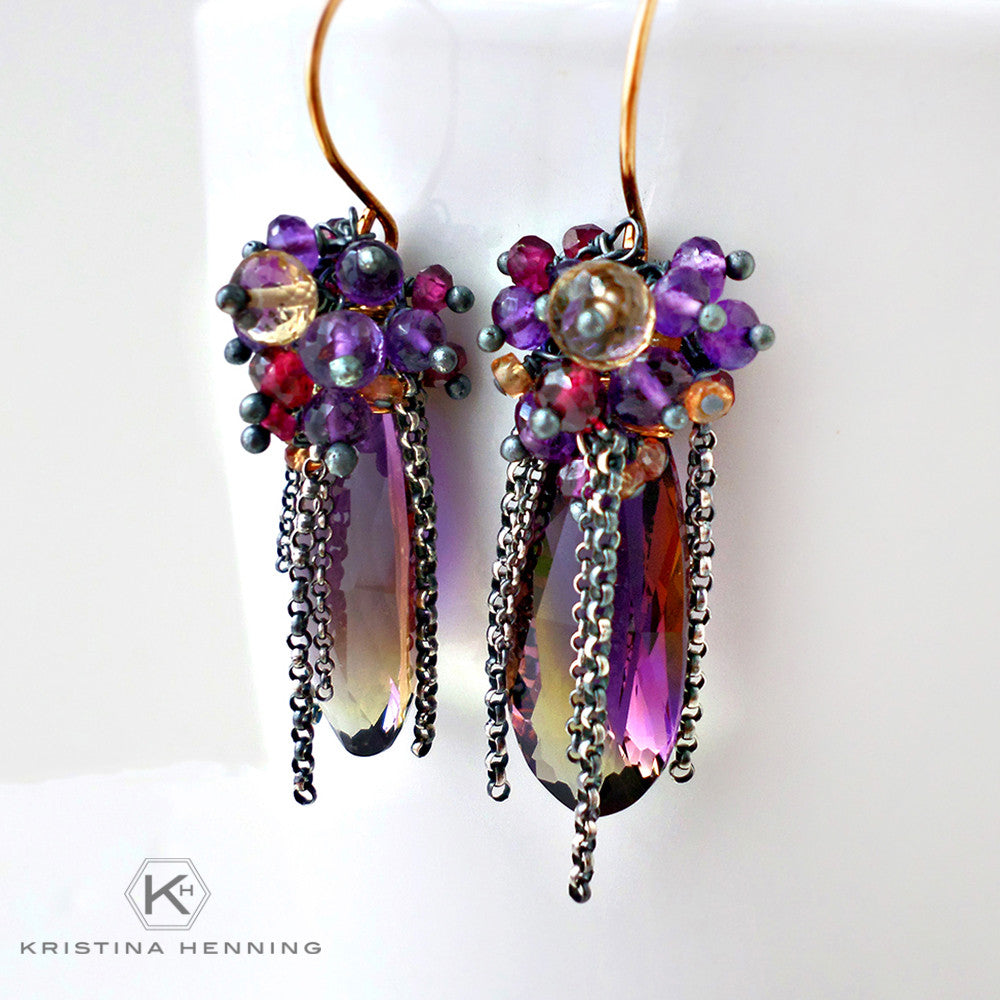 Ametrine dangle earrings with silver and gold