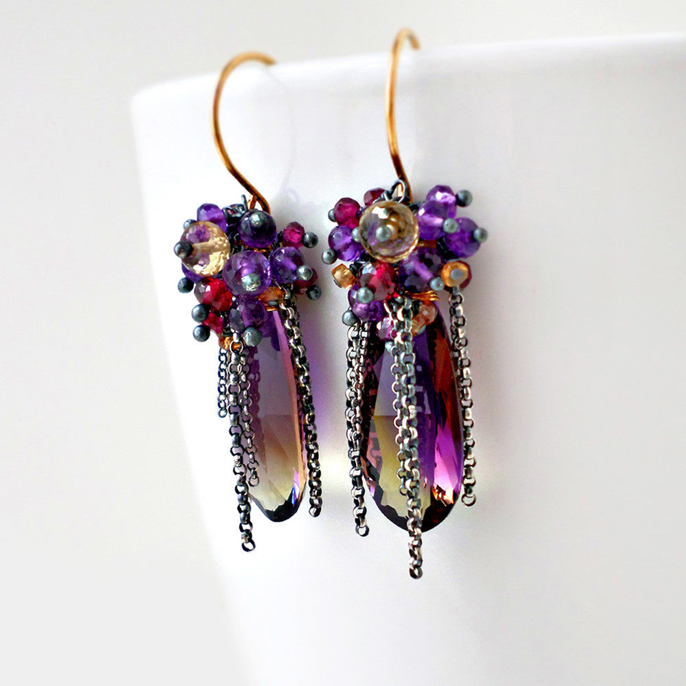 Ametrine gemstone earrings with amethyst, garnet and sapphire in silver and gold