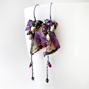 ametrine dangle earring with amethyst, garnet and pyrite in sterling silver