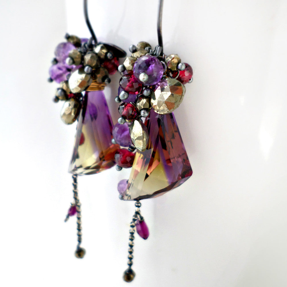Ametrine earrings with pyrite, amethyst and garnet in oxidized sterling silver