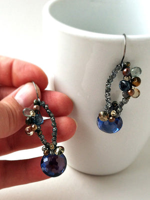 Mulit gemstone wire wrapped dangle earrings with topaz and sapphire