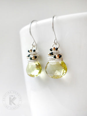 Lemon quartz drop earrings in silver