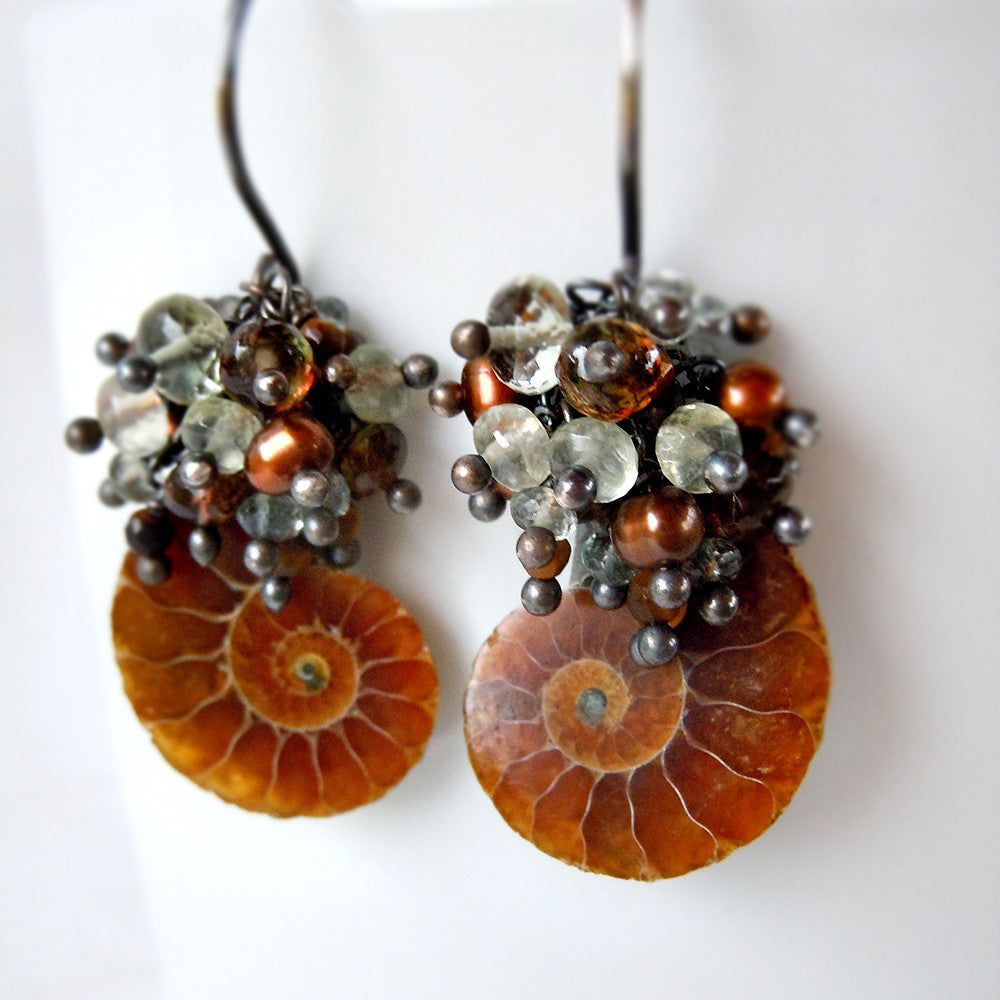 Ammonite and gemstone drop earrings
