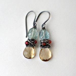 moss aquamarine and citrine earrings wire wrapped with silver and garnet