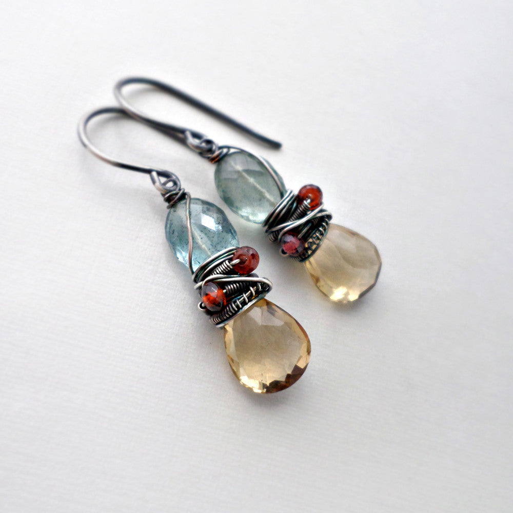 yellow and blue green gemstone earrings with aquamarine, citrine garnet and sterling silver