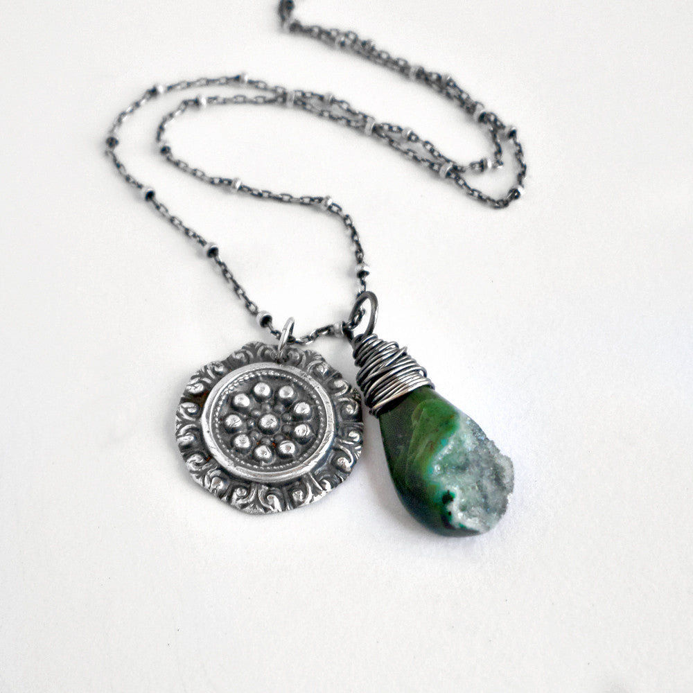Tulla Necklace with Chrysocolla Druzy
