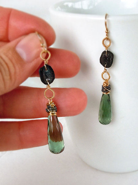 Sage green quartz and baby black geode dangle earrings in gold