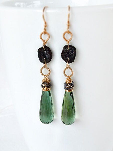 Elongated gold drop earrings with sage green quartz and black geode