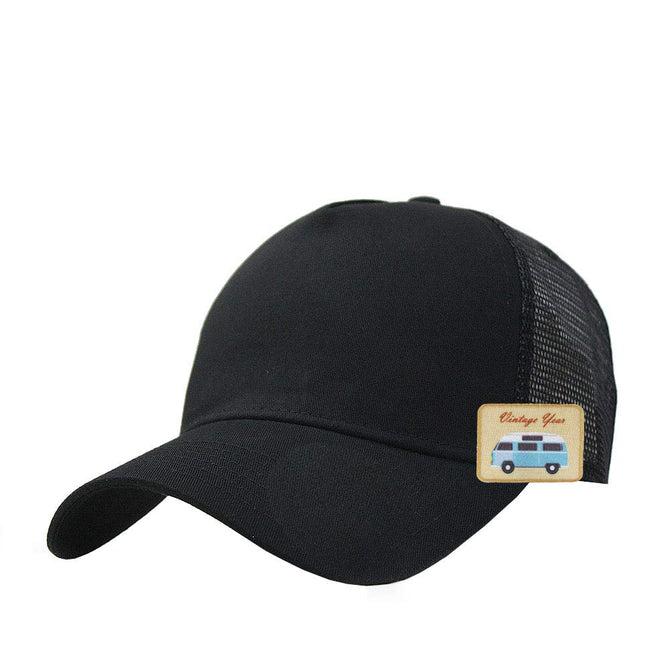 Vurning Vintage  Plain Two Tone Cotton Twill Mesh Adjustable Trucker Baseball Cap - VURNING