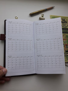 1100 Year at a Glance (Year on 6 pages) with/without Notes  rings and TNs -2020