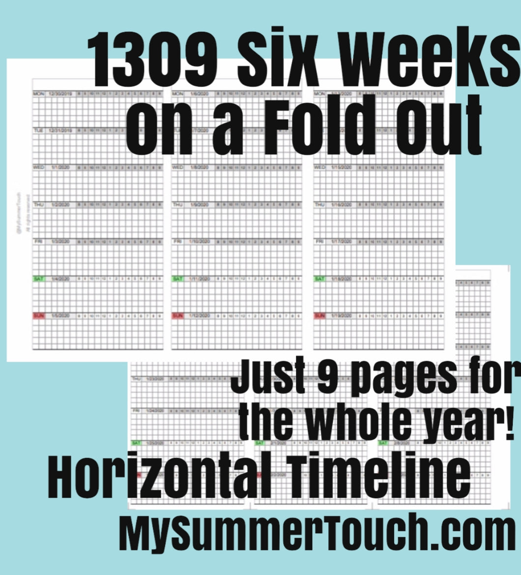 1309 6 Weeks on a Fold Out, Horizontal with Timeline for rings only -  2025
