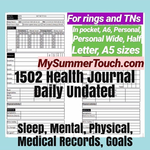1502 DAILY Health Journal Undated for both rings and TNs