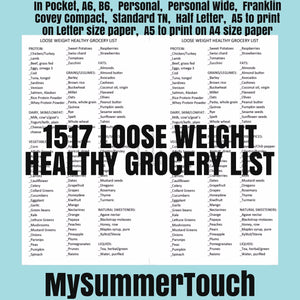 1517 Lose Weight Healthy Grocery List for rings and TNs (except for A5 print on Letter size paper, for rings only)