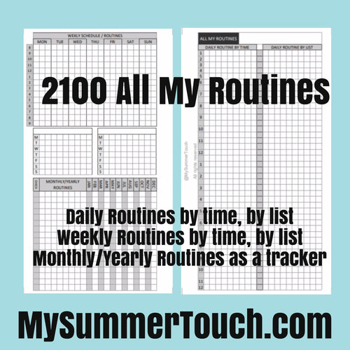2100 All My Routines (Daily, Weekly, Monthly, Yearly) for rings and TNs (except for A5 print on Letter size paper, for rings only )