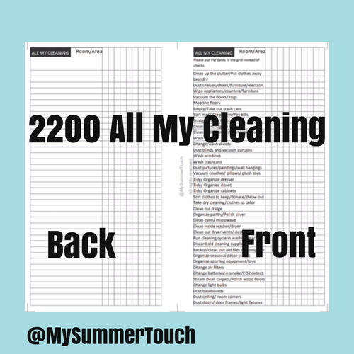 2200 All My Cleaning for rings and TNs (except for A5 print on Letter size paper, for rings only )