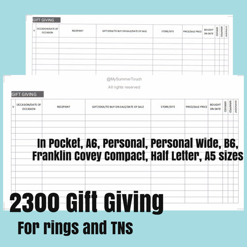 2300 Gift Giving for rings and TNs (except for A5 print on Letter size paper, for rings only )