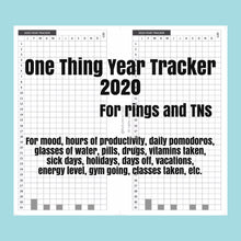Load image into Gallery viewer, 1103 (2021) One Thing Year Tracker -for rings and TNs (except for A5 print on Letter size paper, for rings only )