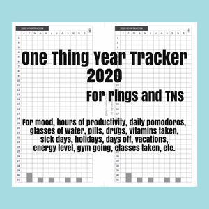 1103 (2021) One Thing Year Tracker -for rings and TNs (except for A5 print on Letter size paper, for rings only )
