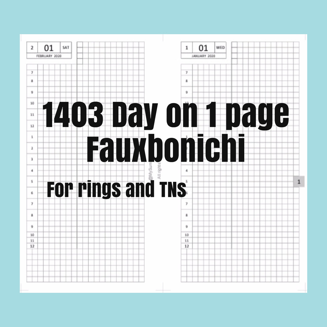 1403 (2021-STANDARD TN SIZE) Day on 1 page FAUXBONICHI - for  TNs
