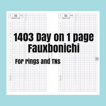 Load image into Gallery viewer, 1403 (2021-A5 to print on A4 size paper  SIZE) Day on 1 page FAUXBONICHI - for rings and TNs