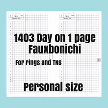 Load image into Gallery viewer, 1403 (2021-PERSONAL WIDE SIZE) Day on 1 page FAUXBONICHI - for rings and TNs