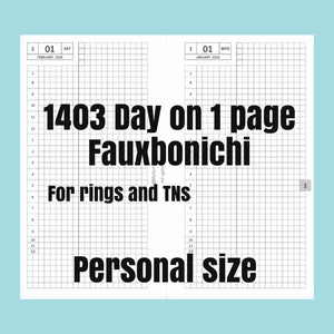 1403 (2021-A5 to print on A4 size paper  SIZE) Day on 1 page FAUXBONICHI - for rings and TNs