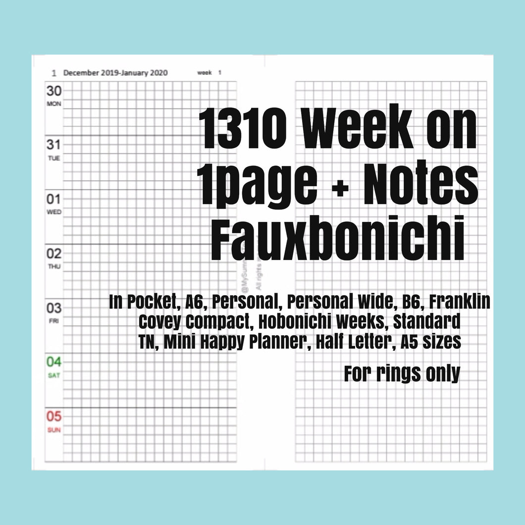 1310 (2021-PERSONAL SIZE) Week on 1page+Notes FAUXBONICHI -for RINGS only