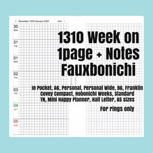 Load image into Gallery viewer, 1310 (2021-B6 SIZE) Week on 1page+Notes FAUXBONICHI -for RINGS only