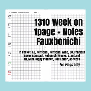 1310 (2021-B6 SIZE) Week on 1page+Notes FAUXBONICHI -for RINGS only