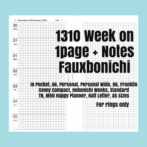 1310 (2021-POCKET SIZE) Week on 1page+Notes FAUXBONICHI -for RINGS only