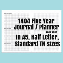 Load image into Gallery viewer, 1404 5 Year Journal/Planner SEPTEMBER 2020-2025 rings and TNs (except for A5 print on Letter size paper, for rings only)