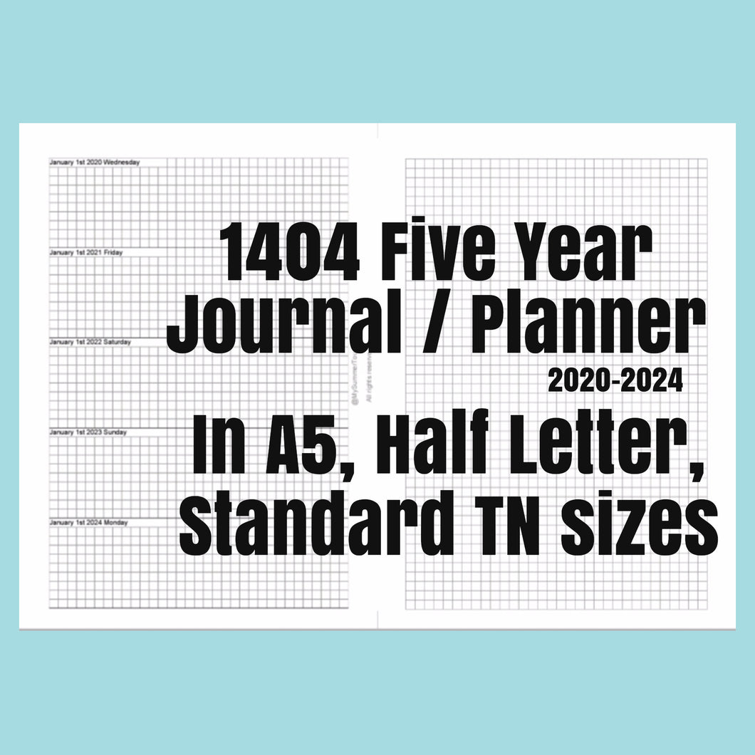 1404 5 Year Journal/Planner AUGUST 2020-2025 rings and TNs (except for A5 print on Letter size paper, for rings only)
