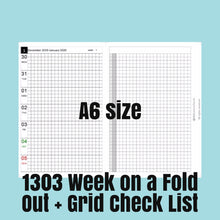 Load image into Gallery viewer, 1303 (2021-A6 SIZE) Week on a Fold Out+Grid Check List--for rings and TNs