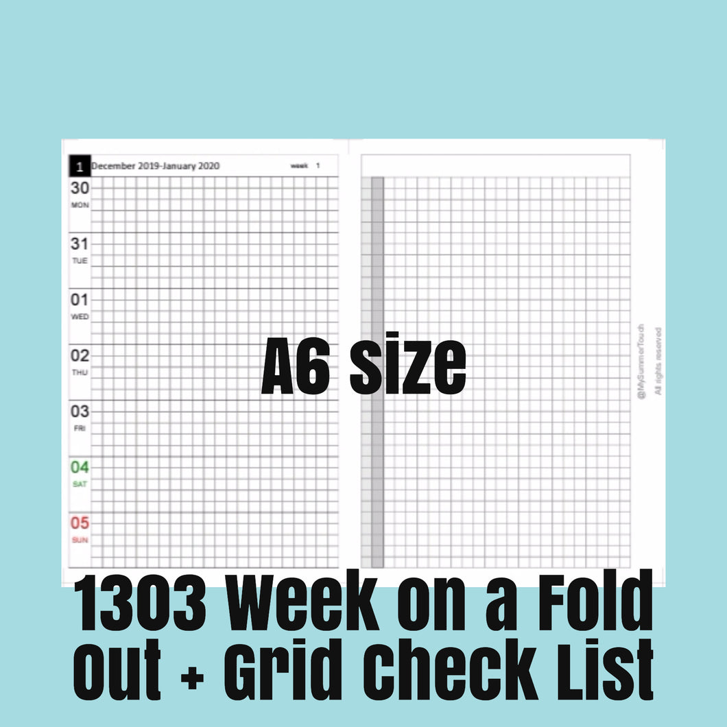 1303 (2021-A6 SIZE) Week on a Fold Out+Grid Check List--for rings and TNs