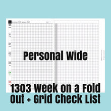 Load image into Gallery viewer, 1303 (2021-PERSONAL WIDE SIZE) Week on a Fold Out+Grid Check List-for rings and TNs
