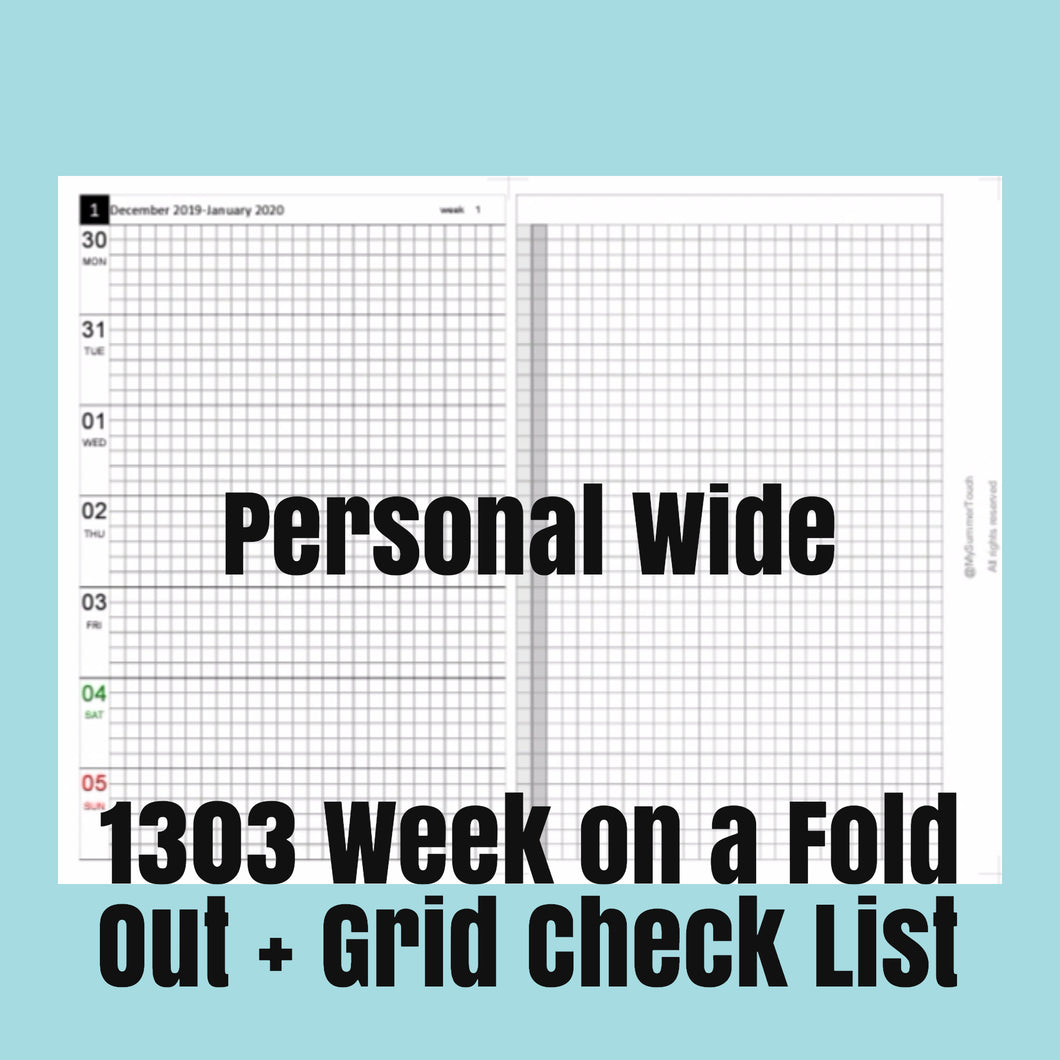 1303 (2021-PERSONAL WIDE SIZE) Week on a Fold Out+Grid Check List-for rings and TNs