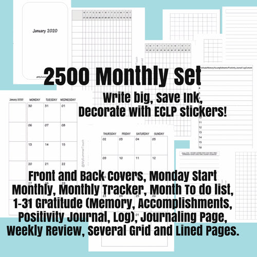 2500 Monthly Set Monday Start -POCKET SIZE-2020-for rings and TNs