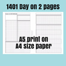 Load image into Gallery viewer, 1401 Day on 2 page -A5 print on A4 size paper-2020- For rings and TNs