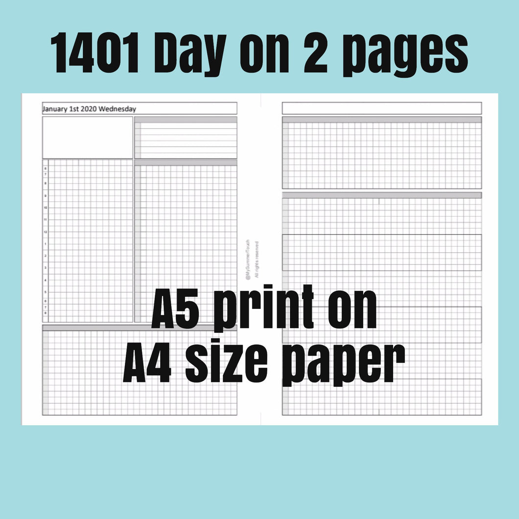 1401 Day on 2 page -A5 print on A4 size paper-2020- For rings and TNs
