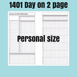 1401 (2021-PERSONAL WIDE SIZE) Day on 2 page -For rings and TNs