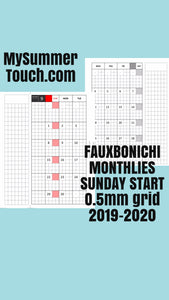 1202 (2021-2022, 2022-2023, 2023-2024-PERSONAL SIZE) TWO YEARS  Fauxbonichi Monthlies SUNDAY START 0.5 cm Grid With FLAPS and COVER -for RINGS and TN