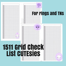 Load image into Gallery viewer, 1511CUTEsies GRID Check list for both rings and TNs+ cover