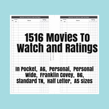 Load image into Gallery viewer, 1516 Movies To Watch and Ratings for rings and TNs (except for A5 print on Letter size paper, for rings only )