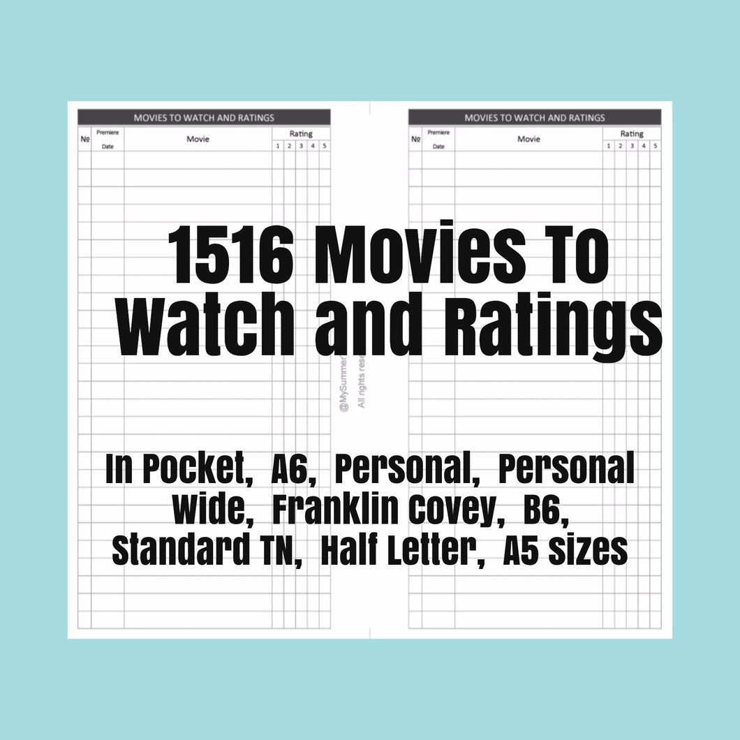 1516 Movies To Watch and Ratings for rings and TNs (except for A5 print on Letter size paper, for rings only )