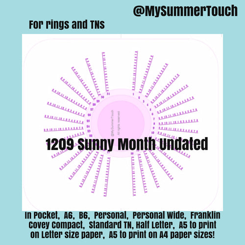 1209 Sunny Month Undated for rings and TNs (except for A5 print on Letter size paper, for rings only)