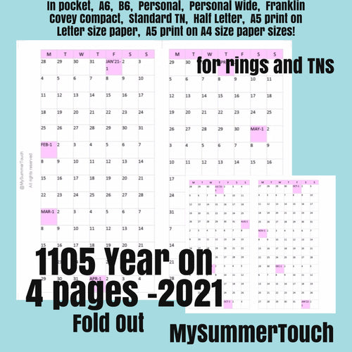 1105 Year on 4 pages -2021- for rings and TNs (except for A5 print on Letter size paper, for rings only)