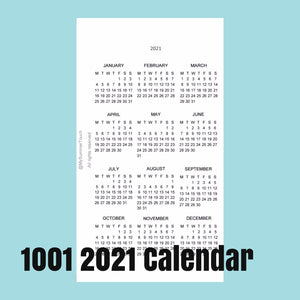 1001 Calendar -2021- for rings and TNs (except for A5 print on Letter size paper, for rings only)