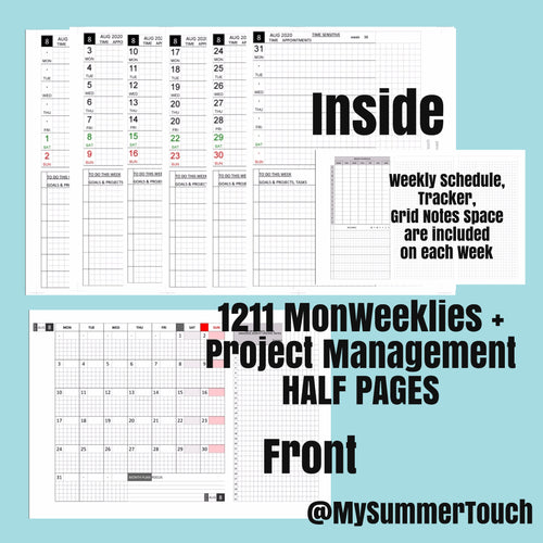 1211 MonWeeklies with Project Management Half Pages -PERSONAL SIZE-2021-for rings