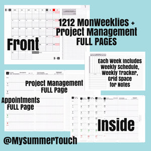 1212 MonWeeklies with Project Management FULL Pages -PERSONAL SIZE-2021-for rings and TNs